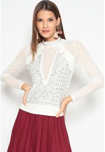 Blusa Transparente Com Aplicações- Branca & Prateadale Fix