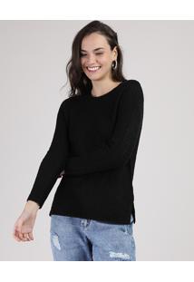 Suéter De Tricô Feminino Com Fenda Preto