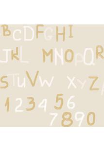 Papel De Parede Coleção Bim Bum Bam Bege Branco Dourado Letras 2258 Cristiana Masy