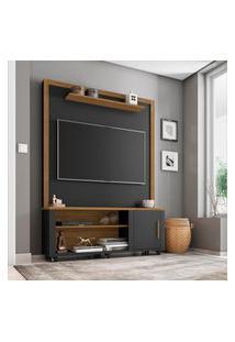 Estante Home Smart Para Tv Até 55 Pol Móveis Bechara Preto Fosco/Cinamomo