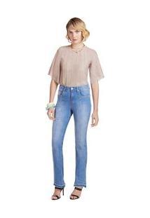 Calça Maria.Valentina Boot Cut M. Valentina Cós Alto Barra Desmanchada Jeans