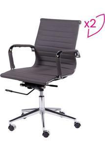 Jogo De Cadeiras Office Eames Esteirinha- Cinza Escuro &Or Design