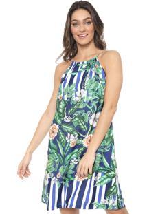 Vestido Mercatto Curto Floral Azul/Verde