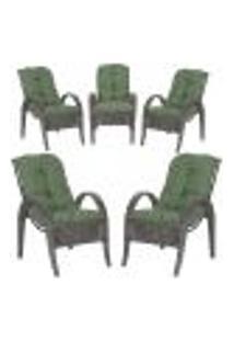 Cadeiras 5Un P/ Jardim Lazer Edicula Varanda Descanso Fibra E Tramas Napoli Plus Tabaco A30