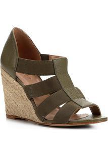 Sandália Shoestock Couro Elástico - Feminino-Verde