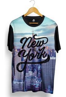 Camiseta Bsc New York Buildings Full Print - Masculino-Preto