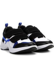 Tênis Chunky Ramarim Sneacker Velcro Feminino - Feminino-Preto+Azul