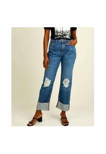 Calça Jeans Reta Destroyed Feminina Marisa