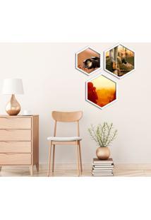 Kit 3 Quadros Com Moldura Hexagonal Photography