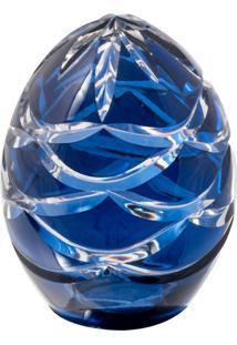 Ovo Decorativo De Cristal Azul Lodz