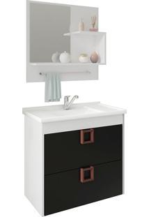 Conjunto Para Banheiro Com 1 Porta Lirio-Mgm - Branco / Preto