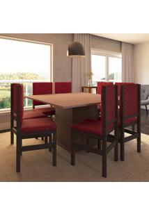 Conjunto De Mesa Com 8 Cadeiras Ororo Tabaco E Vermelho