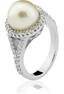 Anel Le Diamond Pérola Ródio Branco - Kanui