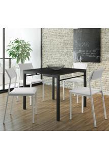 Mesa 1525 Preta Com 4 Cadeiras 1709 Color Uv Branca Carraro