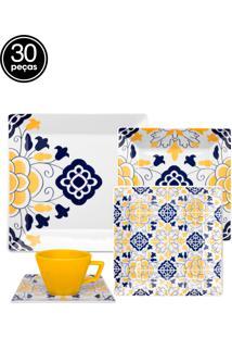 Aparelho De Jantar E Chá Oxford Porcelana Quartier Servilha 30Pçs Branco/Azul/Amarelo