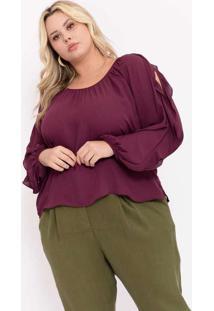 Blusa Almaria Plus Size Pianeta Creponada Roxo