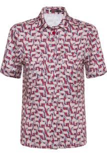Camisa Feminina Manga Curta Lhama - Vermelho