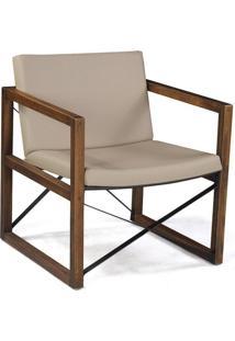 Poltrona Decorativa Stain Rustic Brown/Corino Creme - Gran Belo