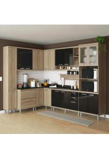 Cozinha Compacta 16 Portas C/ Tampo Pret E Vidro 5803 Preto/Argila - Multimóveis