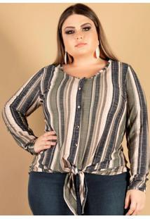 Blusa Estampada Com Amarração Estampado