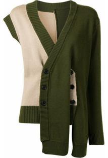 Delada Cardigan Assimétrico De Lã - Verde