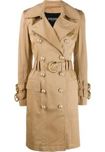 Balmain Trench Coat Com Cinto - Neutro