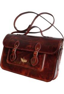 Bolsa Line Store Leather Satchel Média Couro Conhaque Vintage. - Kanui