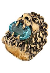 Gucci Anel Lion Com Aplicação - Dourado