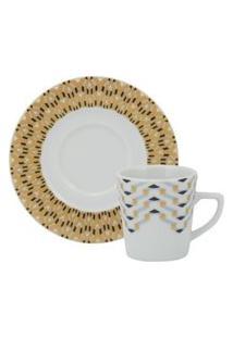 Xícara Café Com Pires 70 Ml Porcelana Schmidt - Dec. Íris