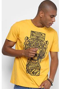 Camiseta Manga Curta Triton Estampada Tigre Masculina - Masculino-Amarelo