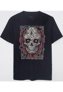 Camiseta Com Estampa Caveira Mexicana