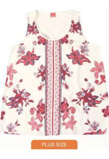 Blusa Branco Floral Com Cetim Wee!