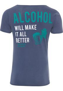 Camiseta Masculina Alcohol - Azul