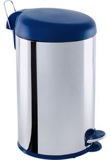 Lixeira 12L Em Aço Inox C/ Tampa Plástica Azul, Elevação Através De Pedal Emborrachado, Balde Interno Removível, Alça Externa Decorline - Brinox