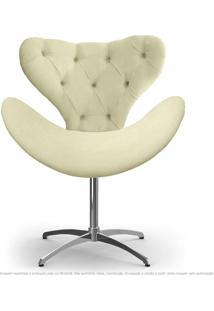 Cadeira Com Capitonê Decorativa Poltrona Egg Areia Com Base Giratória