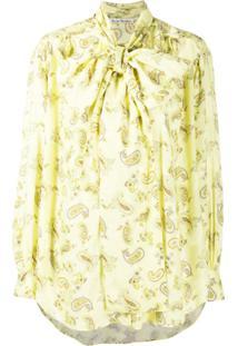 Acne Studios Paisley-Print Tie-Neck Blouse - Amarelo