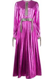 Christopher Kane Vestido Com Pregas E Aplicações - Rosa