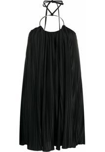 Balmain Vestido Curto Com Pregas - Preto