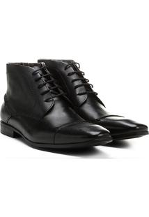 Bota Couro Cano Baixo Shoestock Bico Quadrado Masculina - Masculino