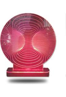 Abajur/Luminária De Mesa Em Acrílico Túnel 3D Com Led Vermelho