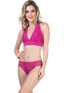 Conjunto Lingerie Top E Biquíni Renda Pink   541.724