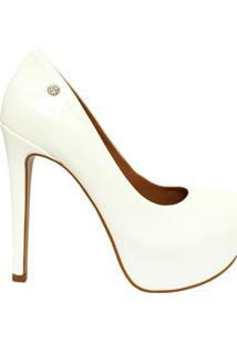 Scarpin Le Bianco Glamour Em Verniz Feminino - Feminino-Branco