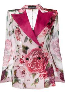 Dolce & Gabbana Blazer Floral De Seda - Rosa
