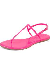 Sandália Rasteirinha Mercedita Shoes Verniz Neon Pink Ultra Macia