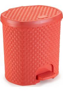 Lixeira Para Cozinha De Plã¡Stico 6 Litros Com Pedal Coral - Transparente - Dafiti