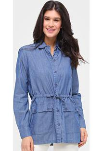Jaqueta Jeans Influencer Parka Amarração Feminina - Feminino-Azul