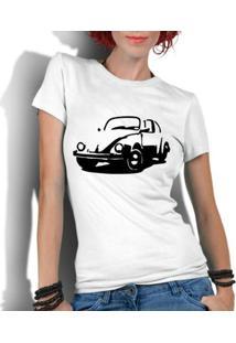 Camiseta Criativa Urbana Fusca Carro Antigo Clássico - Feminino-Branco