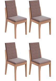 Conjunto Com 4 Cadeiras Lira Carvalho E Rose