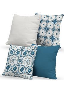 Kit 4 Capas De Almofadas Decorativas Own Mosaicos E Lisas Azul E Branco 45X45 - Somente Capa