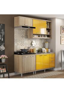 Cozinha Compacta 7 Portas Com Balcão Sem Pia 5810 Amarelo/Argila - Multimóveis